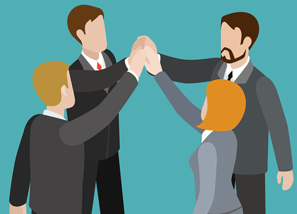 Strong team teambuilding togetherness flat 3d web isometric infographic business work concept vector template. Four businesspeople join hands to make a deal. Creative people collection.